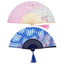 2 uds. Abanico de flores plegable de bambú Vintage para fiestas de baile chino, regalos, abanico de bambú, precio económico, envío directo **