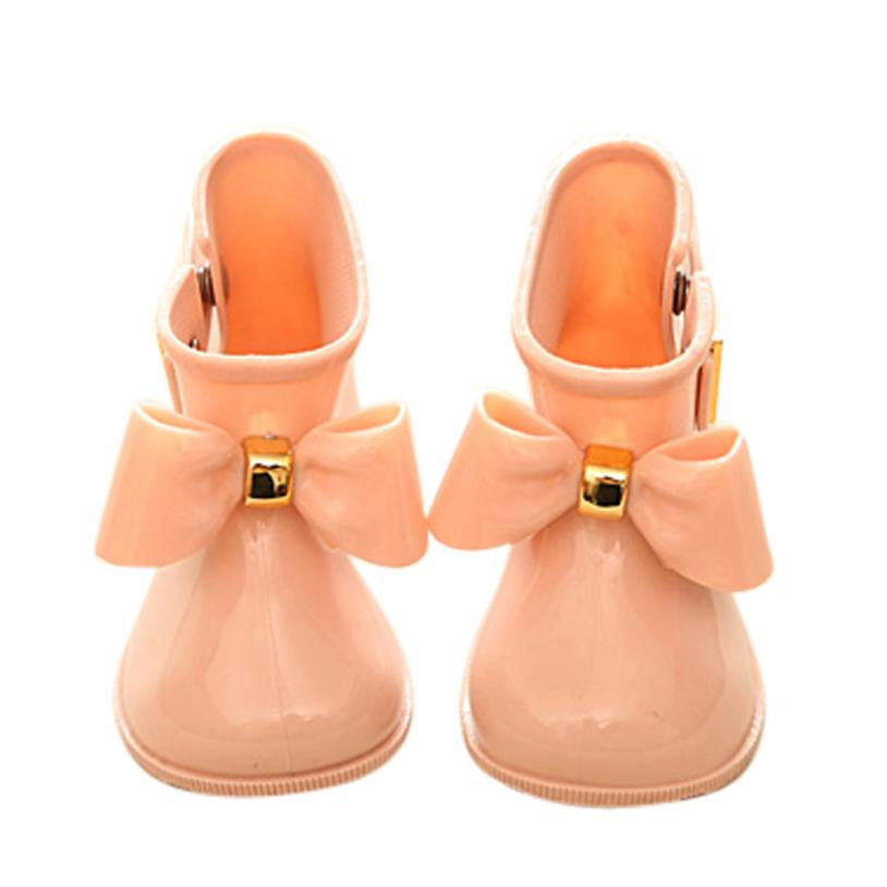 Waterproof Child Rubber Boots 2017 Cute Baby Jelly Shoes For Girl Rain Boot With Bow Cute Soft Children Rain Shoes D40+