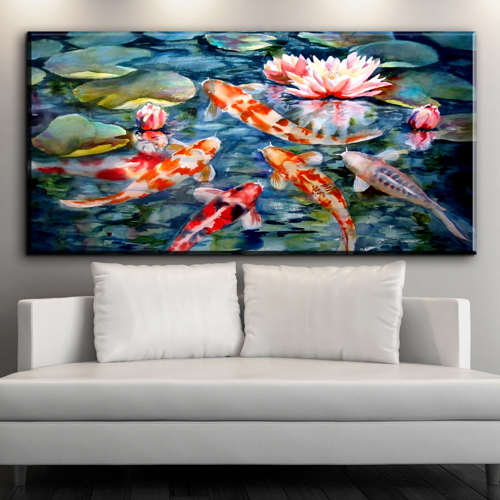 Xh2571 watercolor painted koi fish oil painting prints art for Koi canvas art