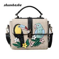 Europe And The United States Fashion Canvas Bag Women Flow Hit Color Stitching Birds And Small