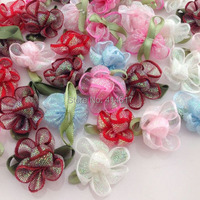 20pcs UPick Ribbon Flower W/Rose carnation Appliques wedding Lots Mix A240