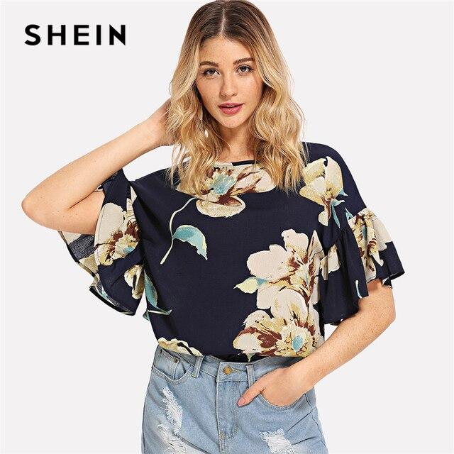 d2e5e3b13f SHEIN Multicolor Vacation Boho Bohemian Beach Floral Print Ruffle Sleeve  Keyhole Back Blouse Summer Women Casual Shirt Top
