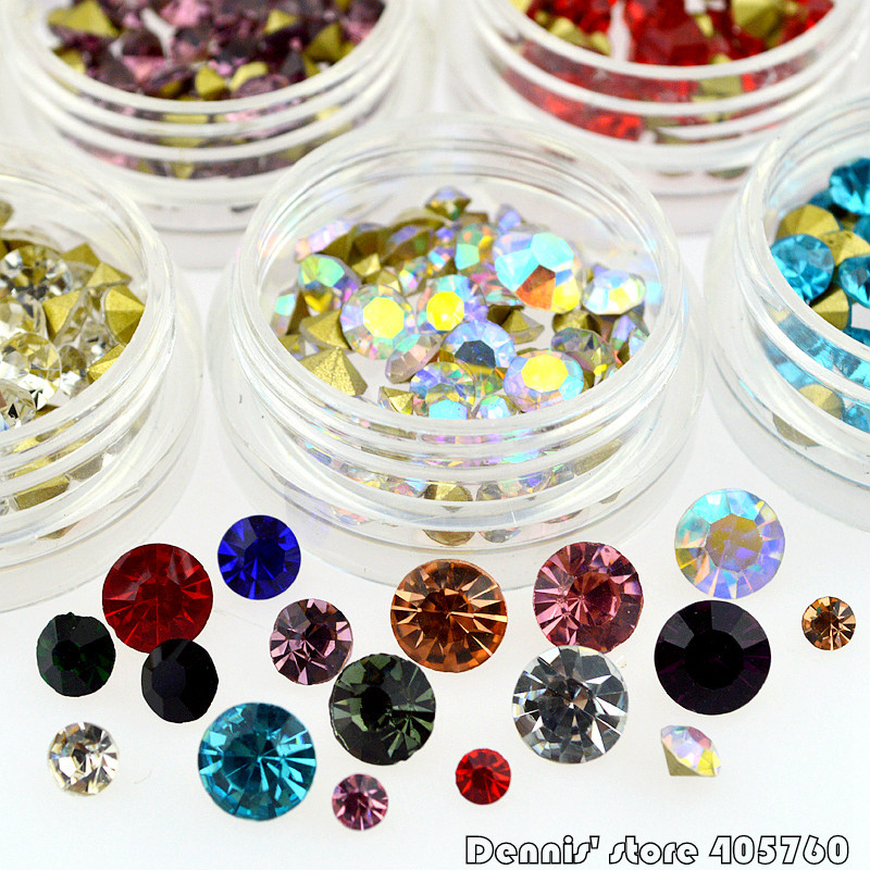Mix 12 Colors Glitter Round Diamond Sharp V-bottom Acrylic  Nail Art Rhinestones Jewelry DIY Decoration Wheel Tips 2000 pcs 12 colors nail shining rhinestones glitter acrylic nail art decoration 2mm for uv gel iphone and laptop diy nail tools