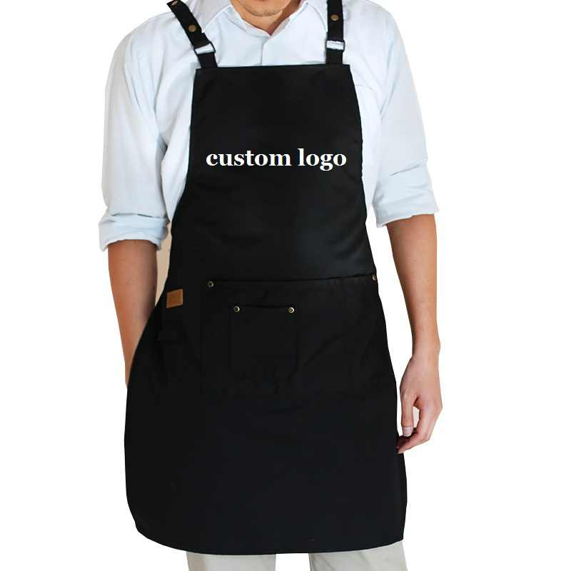2019 New Fashion cooking kitchen aprons for woman man Adjustable with pockets coffee shop work apron bib smocks custom logo