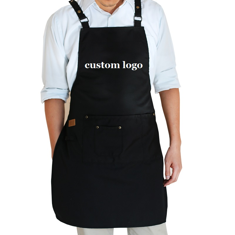 2019 New Fashion cooking kitchen aprons for woman man Adjustable with pockets coffee shop work apron