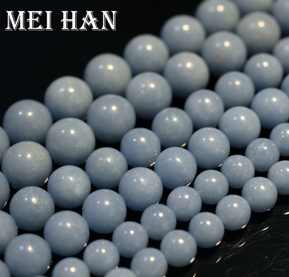Meihan Free Shipping Natural Peru Angelite 8mm, 10mm, 11.5-12mm Smooth Round Charm Blue Gem Stone For Jewelry Making Design