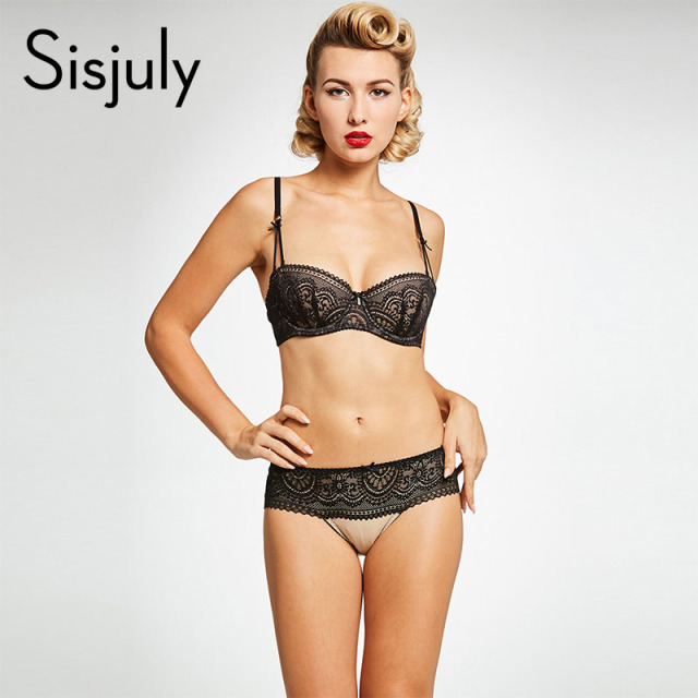019a63da7 Sisjuly women s bra brief sets sexy lace black floral straps fashion  underwire bras vintage ladies sexy lingerie bra brief sets