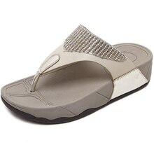 JIANBUDAN Women's flat bottom wedge summer beach shoes non-slip comfortable flip flop diamond trim flat slippers Size 35-41