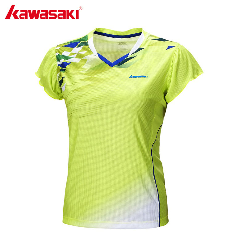 KAWASAKI 2017 New Quick Dry Badminton T Shirt for Women V Neck Sports T-Shirt for Table Tennis Running Fitness ST-172017