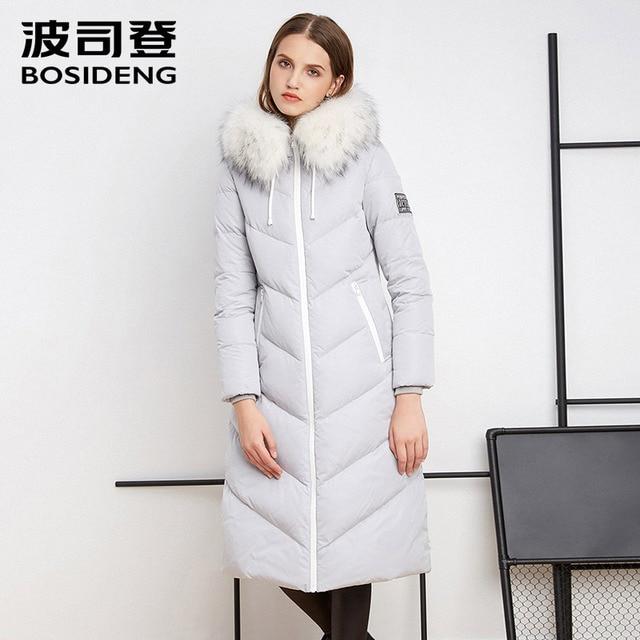 BOSIDENG 2018 зимние женские X-LONG утиный пух пальто роскошный бренд натуральный мех дикая талия утолщение женская теплая одежда B1601178
