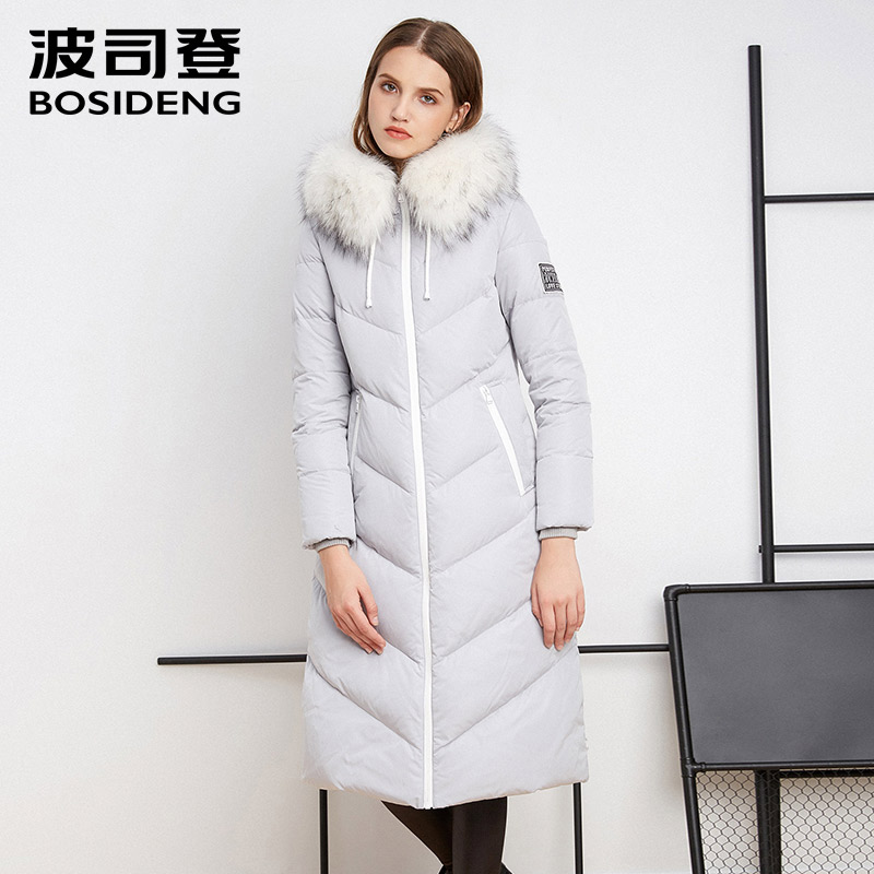 BOSIDENG 2018 winter women X-LONG duck   down     coat   luxury brand real fur wild-waist thickening Female Warm Clothes B1601178