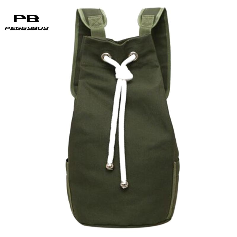 Canvas Men Backpack Solid Colour String Large Travel