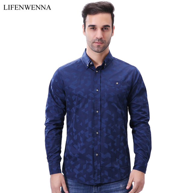 M 5xl Men S Casual Shirts 2017 New Fashion Brand Jacquard Weave Long Sleeve Office Shirt