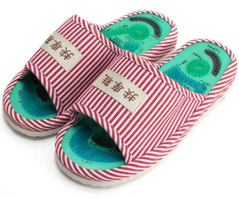 Summer Style Foot Acupoint Massage Shoes Foot Health Care Magnet Therapy Slippers Striped Pattern Indoor Shoes For Women & Men coolsa essential health care taichi acupuncture massage slippers high quality men s foot massage slippers with magnet home shoes