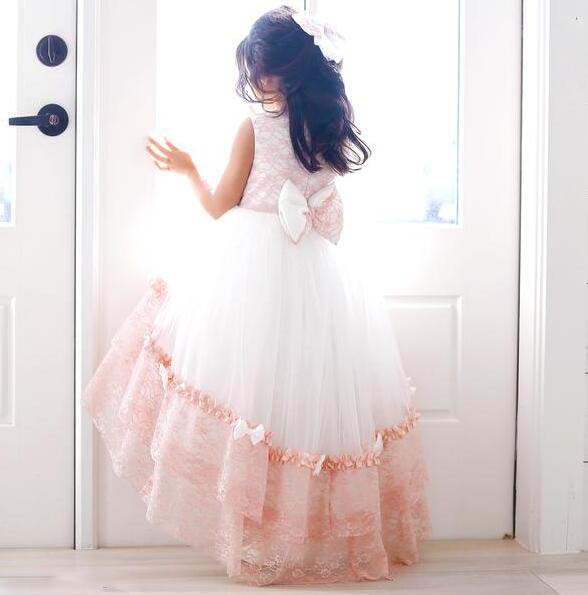 Elegant blush pink lace high low flower girl dresses with bowknot for special event sleeveless toddler kids birthday party dress lace high low swing evening party dress