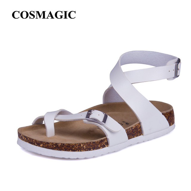 Fashion Cork Sandals 2017 New Women Casual Summer Beach Gladiator Buckle Strap Sandals Shoe Flats Free Shipping Plus Size