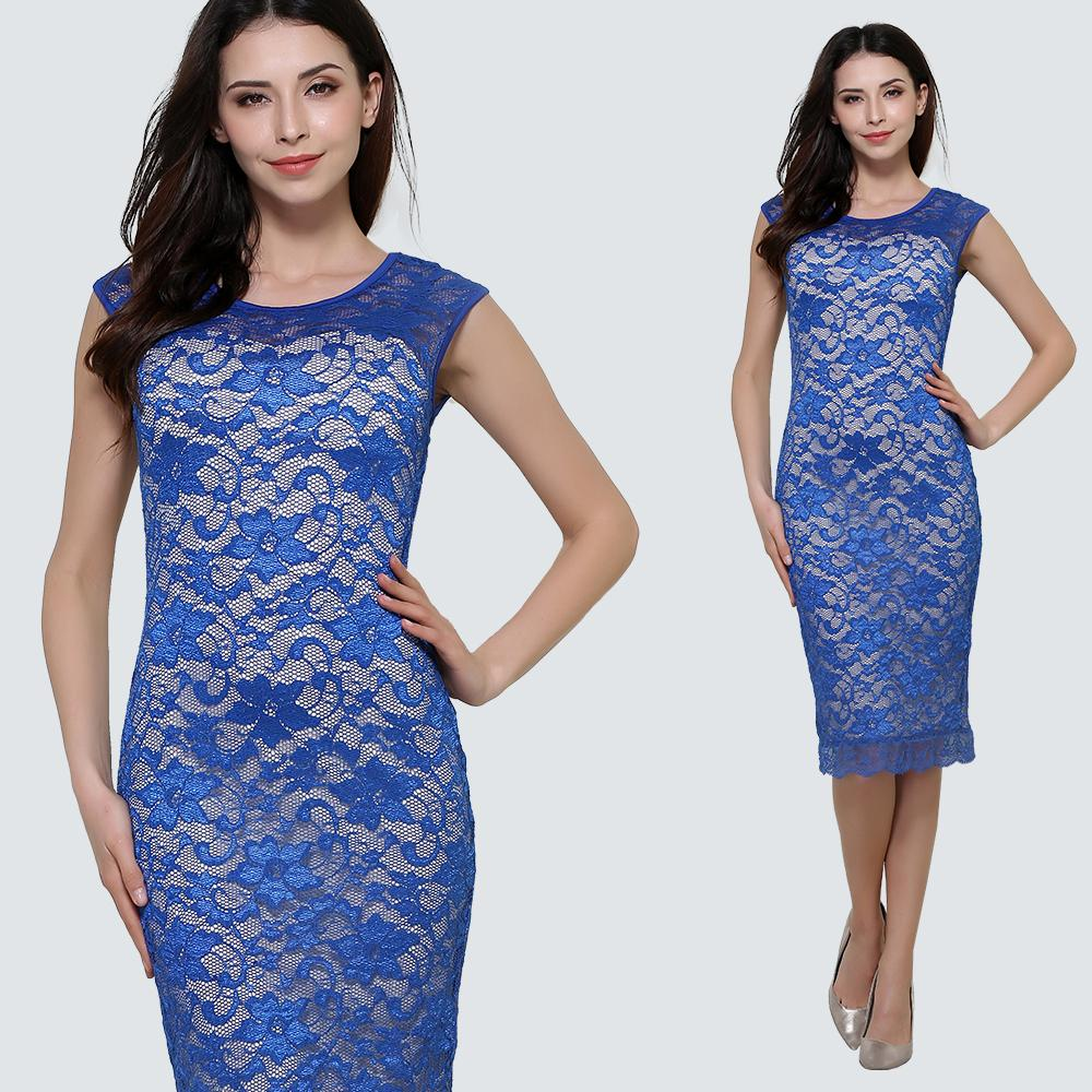 e6a562e23791e Summer Sexy Floral Lace Patchwork Sheath Fitted Bodycon Midi Dress Vintage  Women Work Office Business Party Dress 1HS09