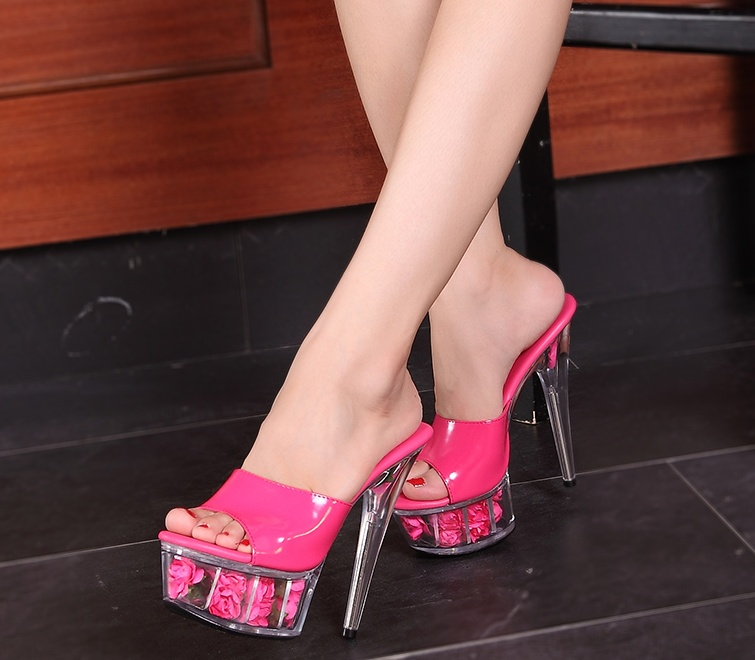 ФОТО 15 cm rose large size transparent soles sexy super high heels female cool slides 4.5-12