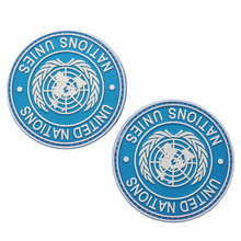 United Nations Logo 3D PVC Epoxy Armband Army Tactics Morale Blue Badge Clothing Backpack Hat Jacket Outdoor Sports Patch embroidered patches united states montana state flag patch tactical 3d national flags army armband badge