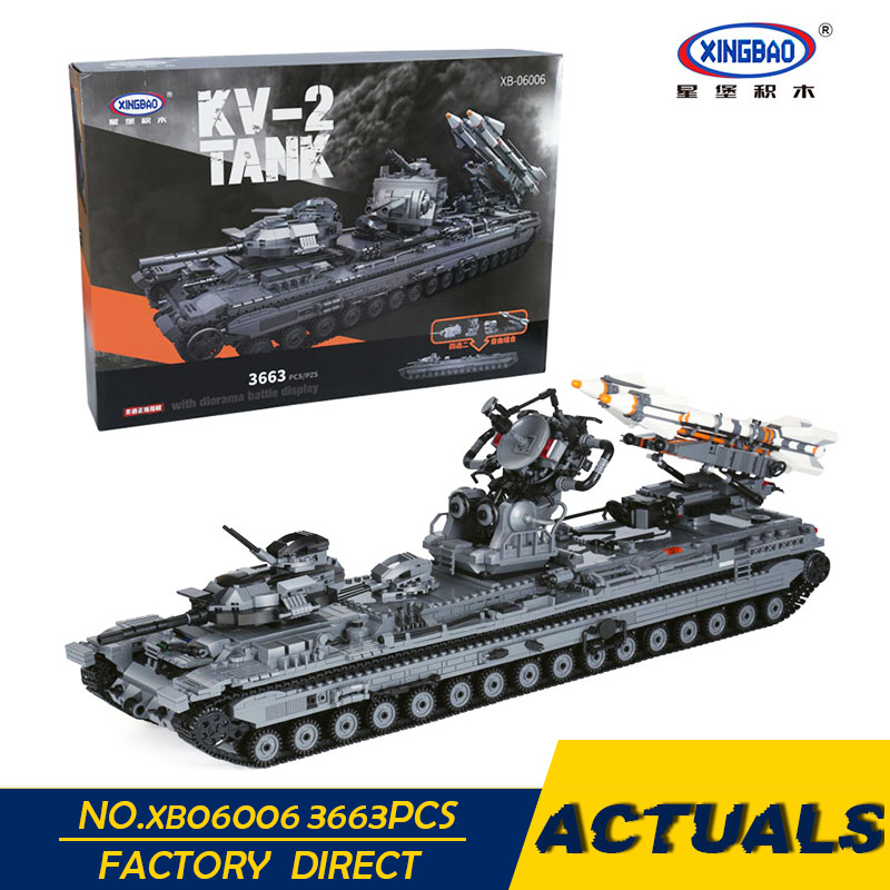 XingBao 06006 3663Pcs Creative MOC Military Series The KV 2 Tank Set children Educational Building Blocks