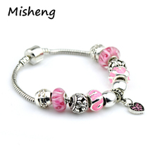 Misheng New Pink Crystal Womens Bracelet Heart Inlaid Zircon Trend Female Bead String Jewelry 2019 Brand DIY Chain Accessories