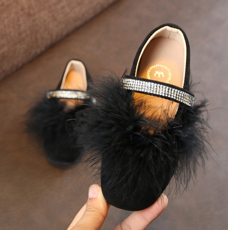 2019 Early Spring New Kids Shoes Girls Korean Version Of The Diamond Princess Hair Shoes Students Round Head Flat Mouth Single