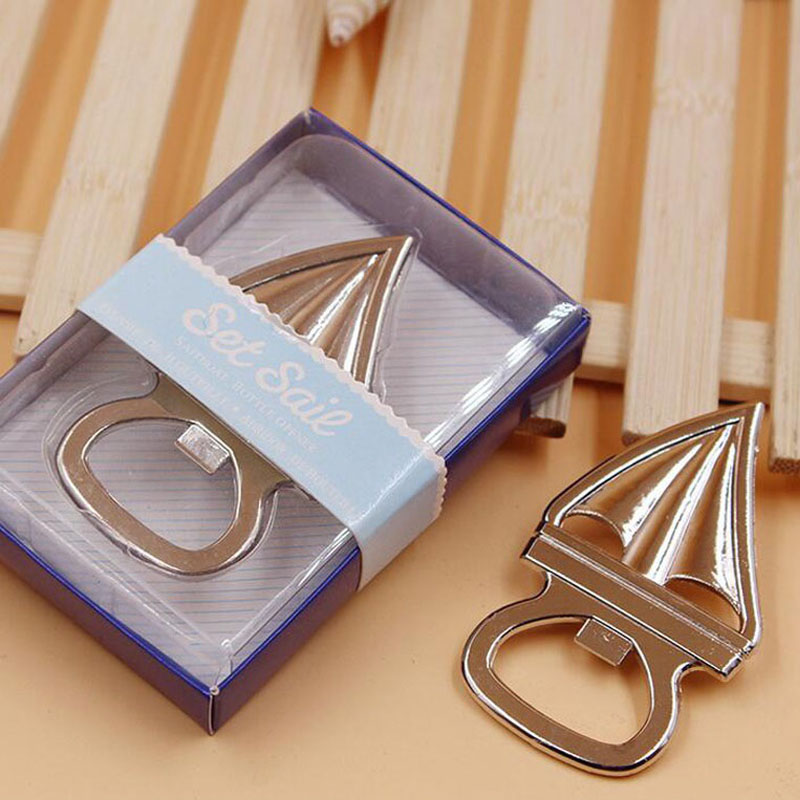 50 pieces  party silver sailboat opener beer wedding gift souvenir party items