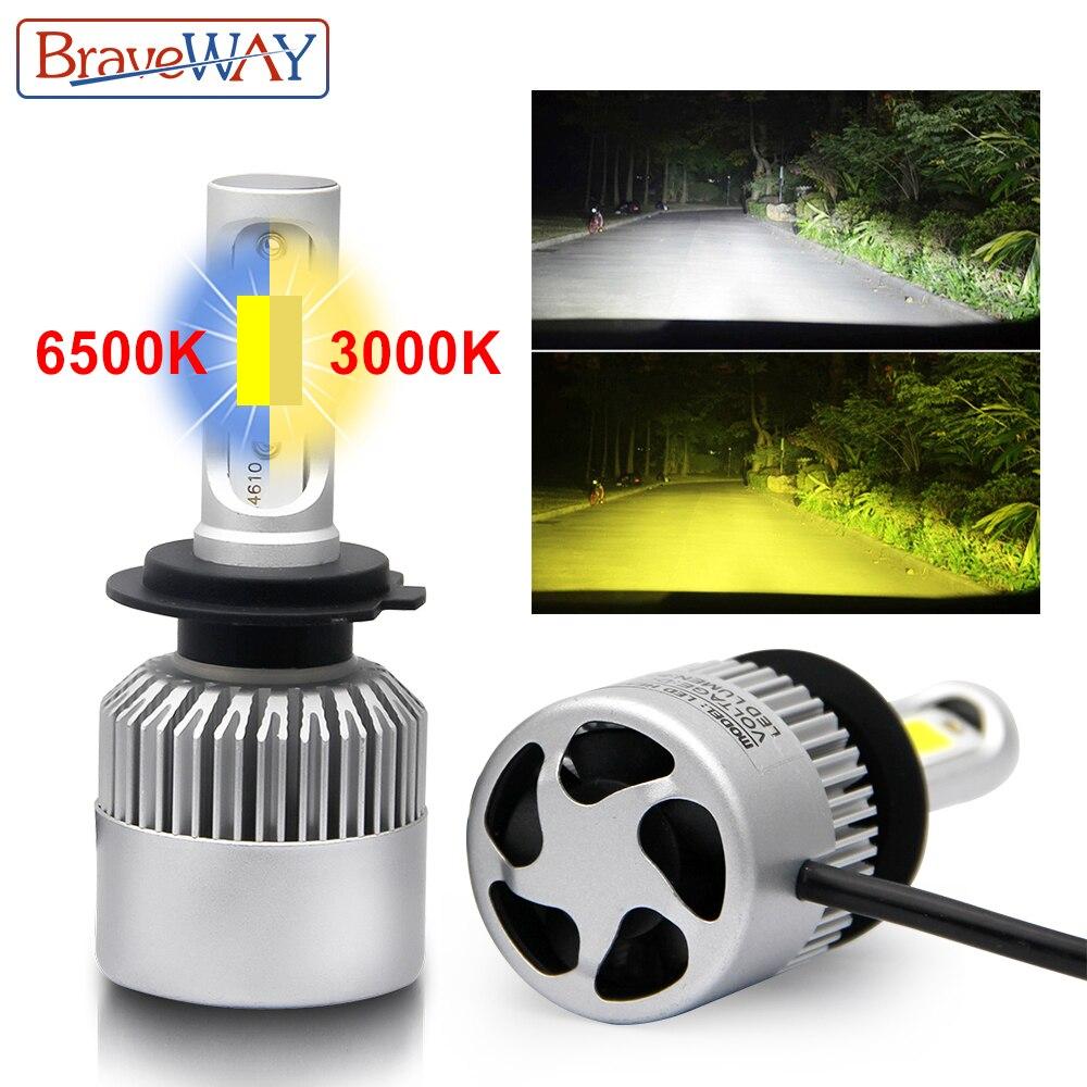BraveWay H1 H3 LED Ampoules pour Voiture S2 H8 Led Double Couleur 3000 k 6500 k Phare H7 H11 9005 9006 LED H4 Blanc Jaune Brouillard Lumière