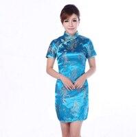Sexy Blue Chinese Style Women Silk Dress Lady Satin Cheongsam Mini Qipao Vintage Dress Size S