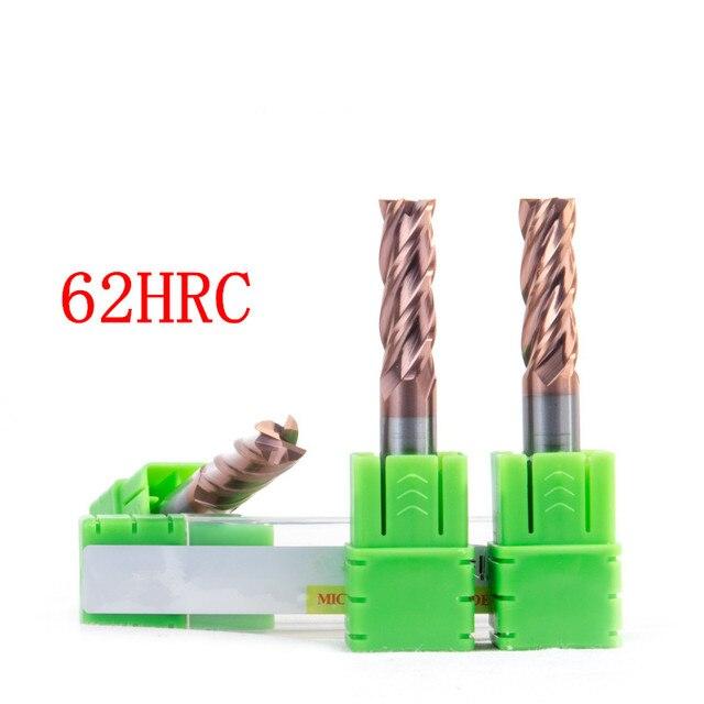 2PCS 4/2 flutes 8x100MM HRC45 HRC50 HRC55 HRC60 HRC65 8MM Tungsten Carbide End Mill R4 ball end End Mill Aluminum milling cutter