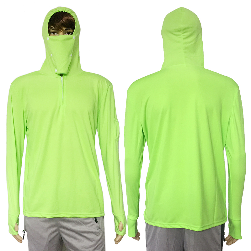 Fishing Clothes Sun Protection Shirt Anti-UV Breathable Men Quick Dry Hooded Fishing Shirt Outdoor Hiking T-shirt Sunscreen Tops