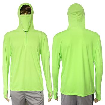 Ubrania wędkarskie koszula chroniąca przed słońcem anty-uv oddychająca mężczyźni szybkoschnący z kapturem koszula wędkarska Outdoor Hiking T-shirt ochrony przeciwsłonecznej topy tanie i dobre opinie WALLY SKY Pełna Poliester FW002 Camping i piesze wycieczki Pasuje prawda na wymiar weź swój normalny rozmiar Szybkie suche