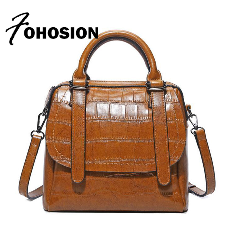 FOHOSION genuine leather bags for women Messenger bags crocodile Ladies leather Handbag Luxury brands designer Shoulder Bag Sac 2017 women leather handbag of brands women messenger bags cross body ladies shoulder bag luxury handbags designer s 83