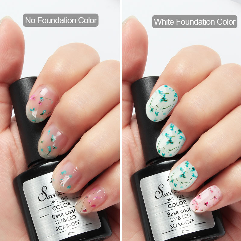 Saviland Natural Dried Flower Gel Nail Polish Semi Permanent ...