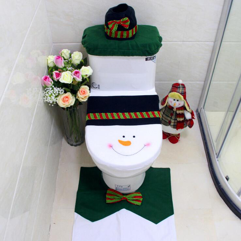 1 Lot 3pcs Hot Cartoon Christmas Bow Tie Snowman Toilet Seat Cover And Mat Tank