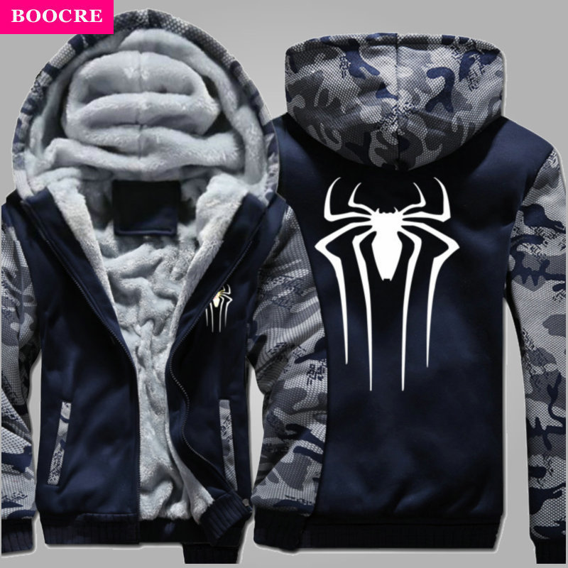 Winter Autumn Spiderman <font><b>Spider</b></font> <font><b>Web</b></font> Unisex Cotton Zipper <font><b>Coat</b></font> Hoodies Side Pockets Hoody Sweatshirts Long Sleeve Hooded Jacket