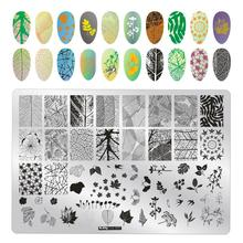 1Pcs Dry Flowers Nail Stamping Template Plates Lace Leaves Image Rectangle Art Stamp Plate Manicure Stencils Tools