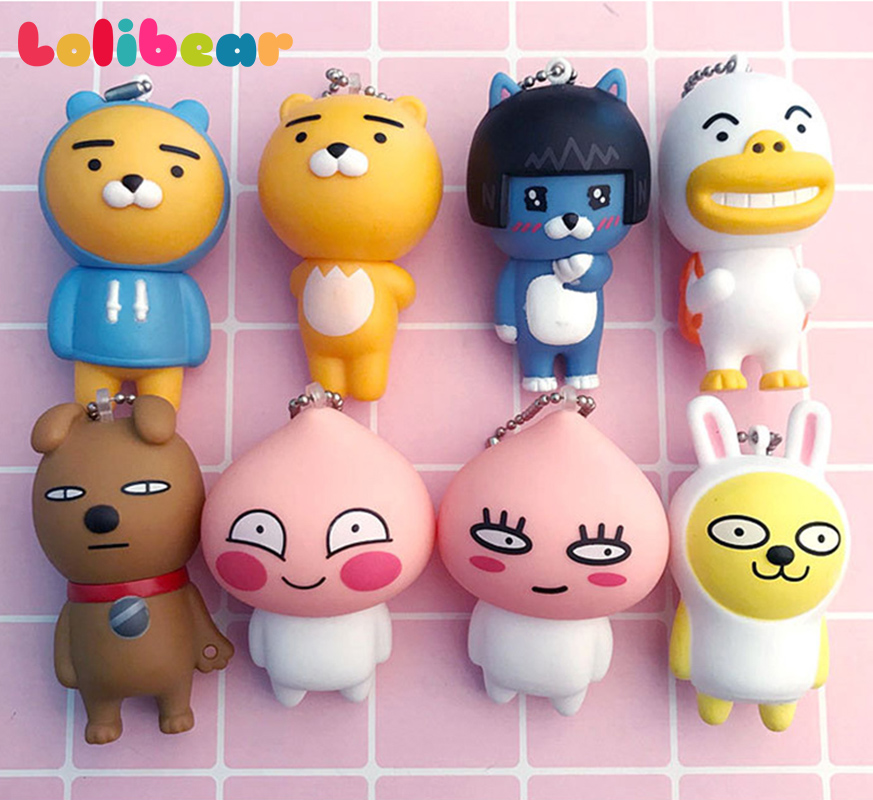 7cm Kakao Friends Action Figures Cute Keychain Bag Decor Pendants Cartoon Cocoa Friends Ryan Muzi Apeach Neo Frodo Toys for Kid