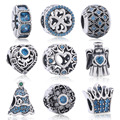 925 Sterling Silver Flower Heart Crown Angle Tree Charms Pave Sky Blue CZ Beads Fit Original Pandora Bracelet DIY Women Jewelry