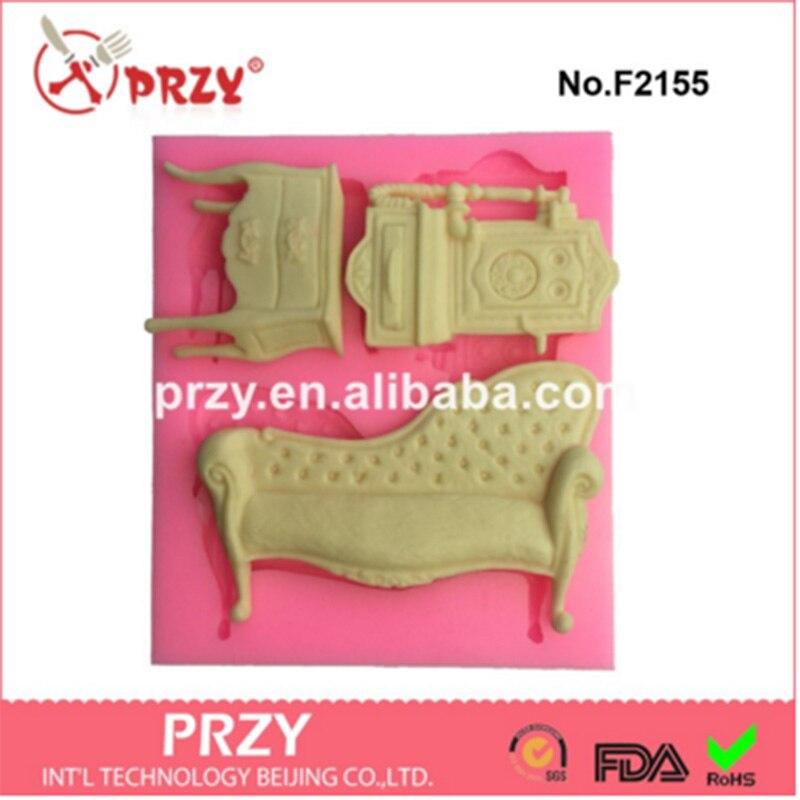 PRZY 3hole Baroque Furniture Silicone Fondant Mould cake decorating mold font b food b font grade