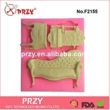 PRZY 3 отверстие Мебель В Стиле Барокко, Силиконовые Фондант Плесень торт украшения mold пищевой пресс-форм
