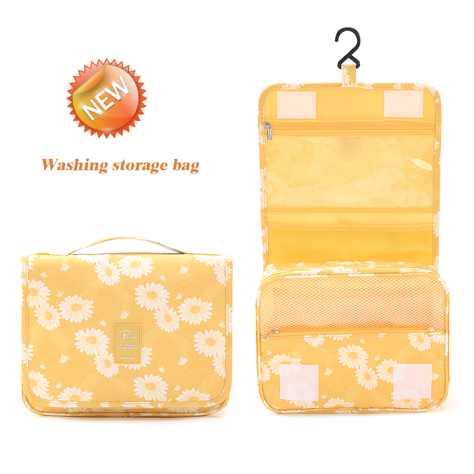 Travel Toiletry Bag, NEW Daisy Yellow Pattern Portable Hanging Travel Wash Bag Foldable Make up Bags with Hook Organizer Bags-in Hanging Organizers from Home & Garden