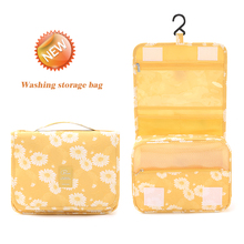 Travel Toiletry Bag, NEW Daisy Yellow Pattern Portable Hanging Travel Wash Bag Foldable Make up Bags with Hook Organizer Bags
