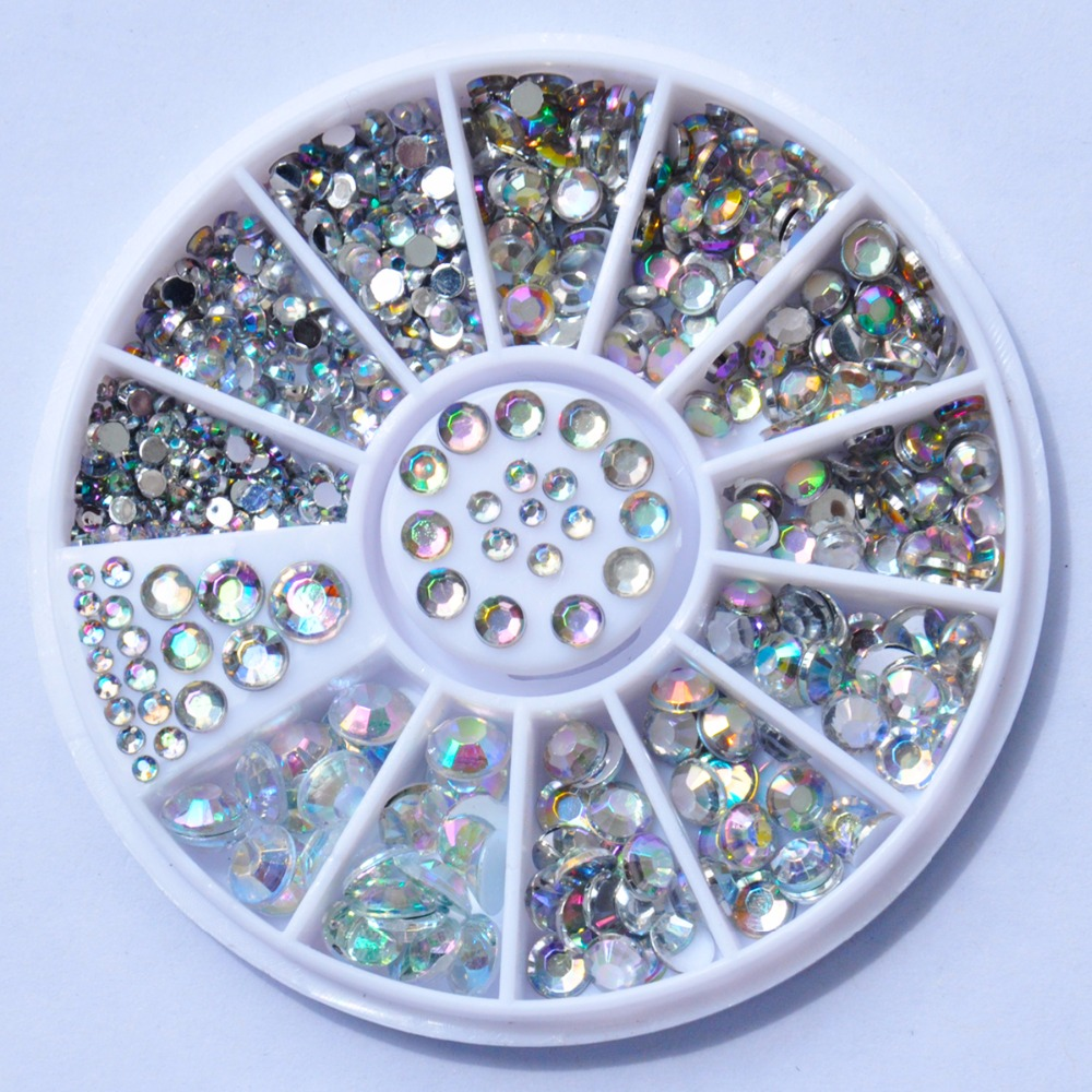 Biutee Nail Decoration Rhinestone 5 Sizes Silver Multicolor Acrylic Nail Art Decoration Glitter Nail Rhinestones Nail Tools biutee 12 colors nail rhinestones 4mm acrylic nail art rhinestones decoration for uv gel phone laptop diy nail tools