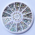 Biutee Nail Decoration Rhinestone 5 Sizes Silver Multicolor Acrylic Nail Art Decoration Glitter Nail Rhinestones Nail Tools