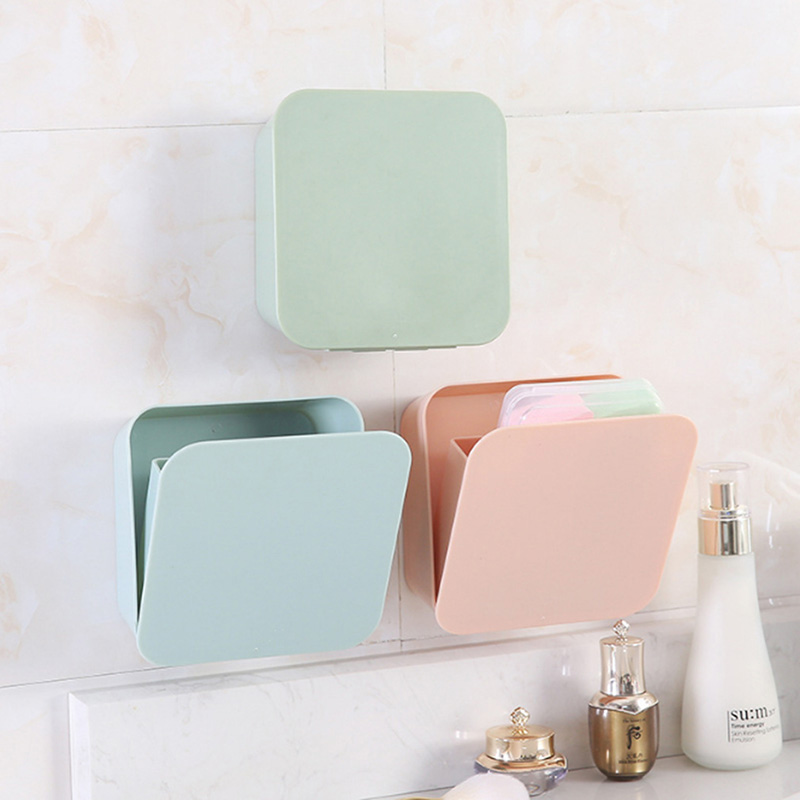 Wall Hanging Waterproof Organizer Drawer Square Cosmetic Tableware Toothbrush Box Makeup Holder Switch Box Container image
