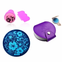 5pcs Lot Nail Art Stencils Stamping Template Polish Print Plate Stamper Scraper With Nail Plate Case