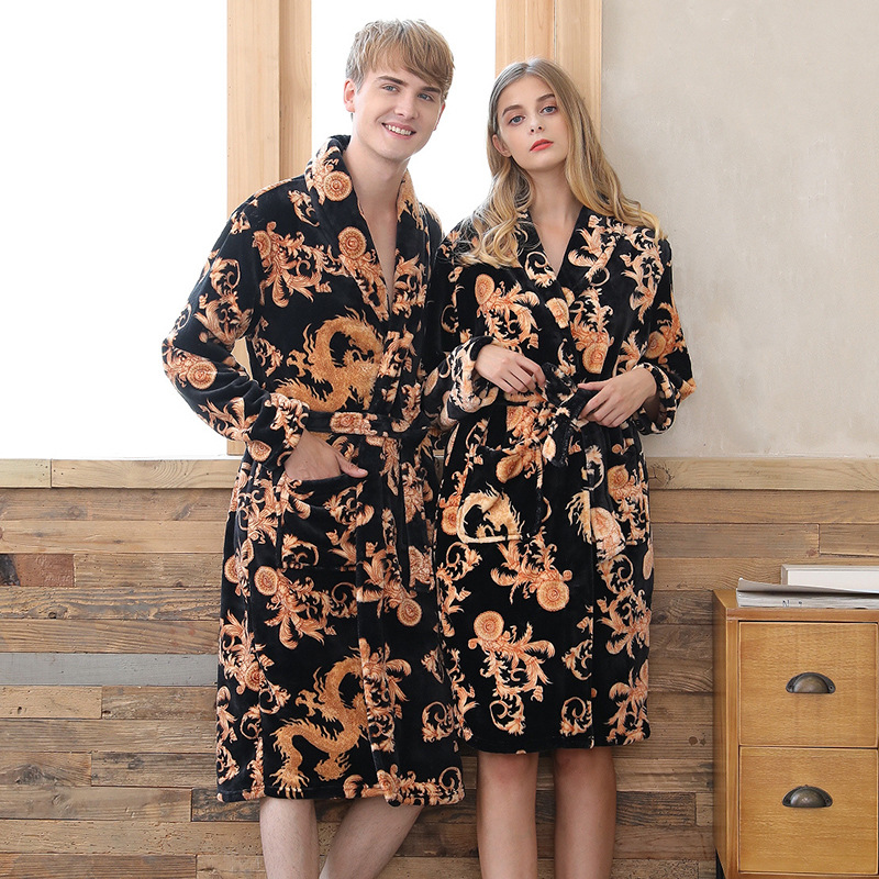 Coral Fleece Bathrobe Couples Kimono Men Bath Robe Winter Mens Robes