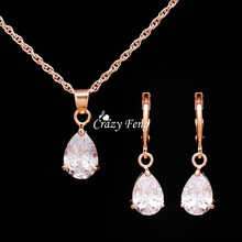 Gold-color Jewelry Sets AAA Zircon CZ Crystal Waterdrop Pendant Necklace Earrings Set Wedding