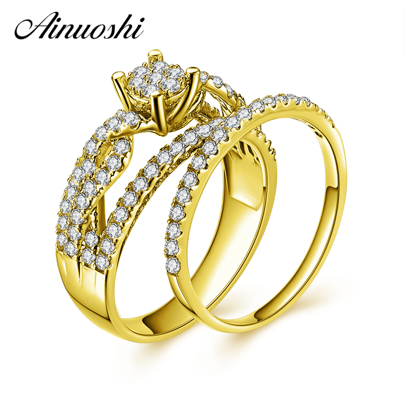 AINUOSHI 10 k Ouro Amarelo Sólido Conjunto Anel de Noiva 4 Dentes Corte Redondo SONA anel de Diamante do Trançado Conjunto Anel de Noivado Casamento jóias Presente